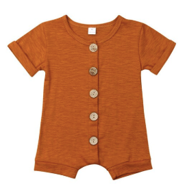Baby/Toddler Burnt Orange Button Romper