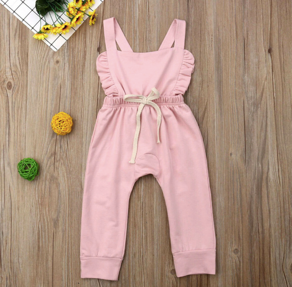 Baby/Toddler Pink Ruffle Backless Romper