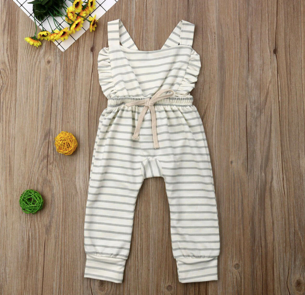 Baby/Toddler White and Grey Striped Ruffle Backless Romper