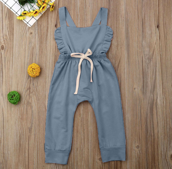 Baby/Toddler Chambray Ruffle Backless Romper