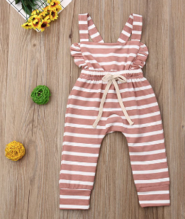 Baby/Toddler Mauve and White Striped Backless Romper