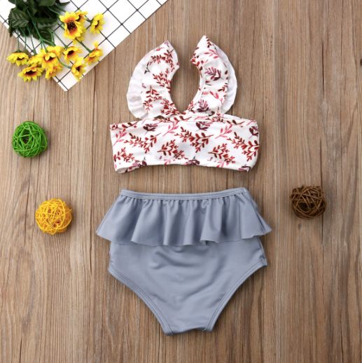Baby/Toddler Floral and Grey High Waist Bathing Suit
