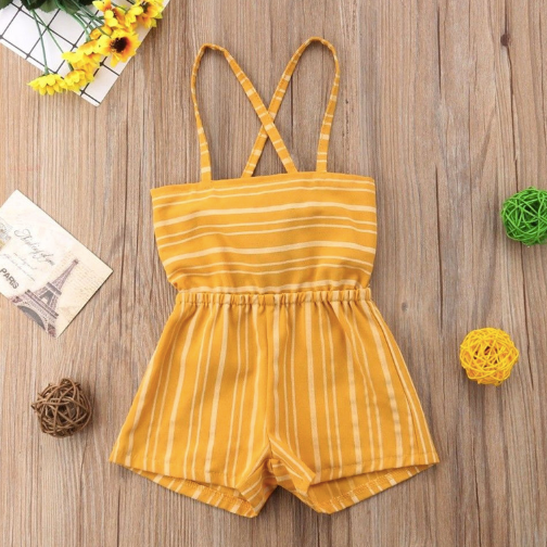 Baby/Toddler Yellow and White Striped Sleeveless Romper