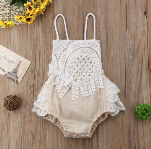 Baby/Toddler Khaki and Lace Linen Romper