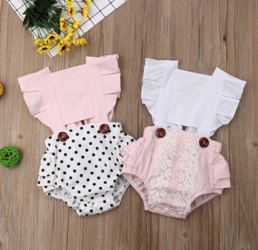 Baby/Toddler White and Pink with Lace Button Romper