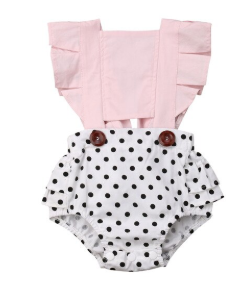 Baby/Toddler Pink and Polka Dot Button Romper