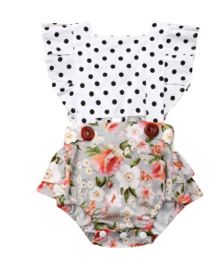 Baby/Toddler Polka Dot and Floral Button Romper