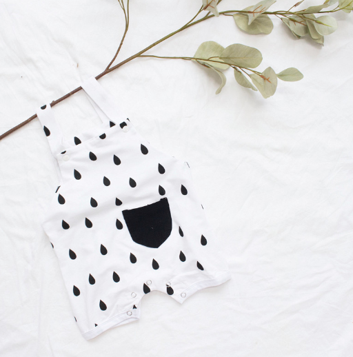 Baby/Toddler White with Black Dots Romper