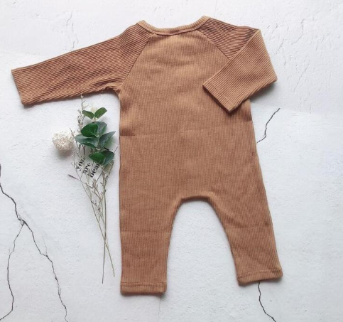 Baby/Toddler Brown Button Up Ribbed Essentials Romper