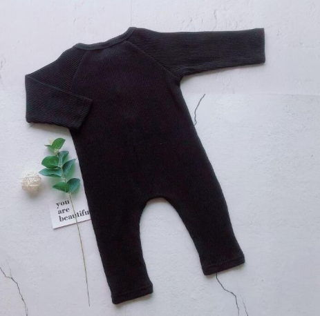 Baby/Toddler Black Button Up Ribbed Essentials Romper