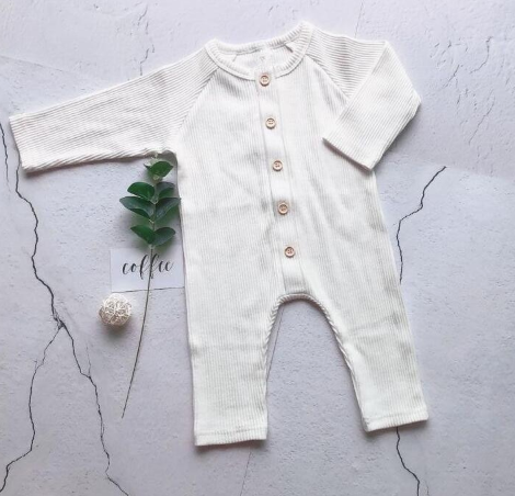 Baby/Toddler White Button Up Ribbed Essentials Romper