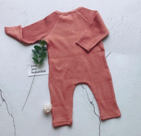 Baby/Toddler Rose Pink Button Up Ribbed Essentials Romper