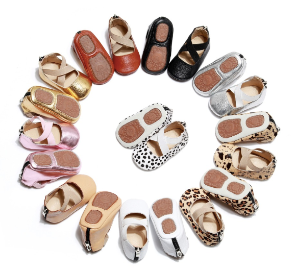Baby Ballet Flats - Tan and Black