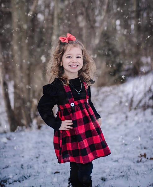 Baby/Toddler/Kids Plaid and Black Suspender Dress