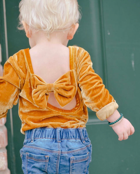 Baby/Toddler Marigold Velvet Bow Leotard