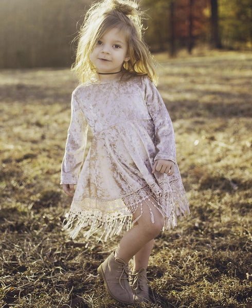 Baby/Toddler Velvet Fringe Dress