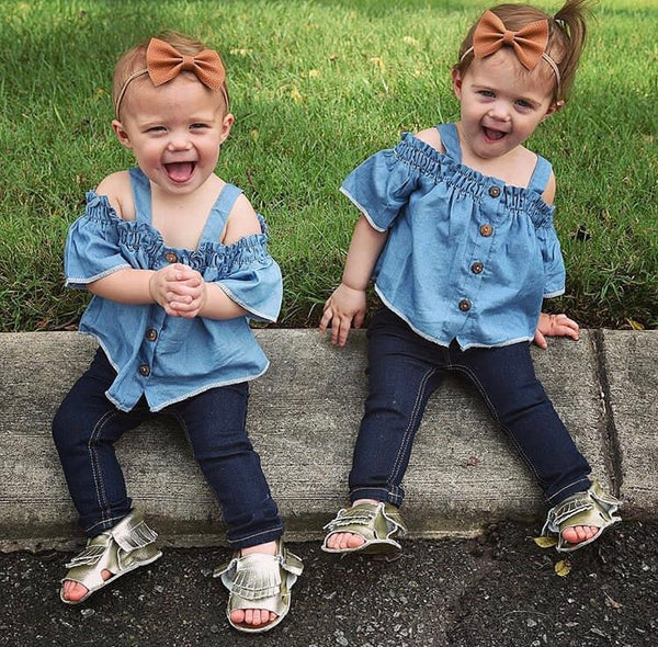 Baby/Toddler Denim Cold Shoulder Top