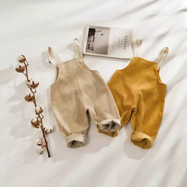 Baby/Toddler Mustard Corduroy Overall Romper