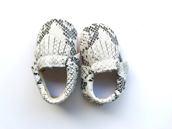 Baby Moccains - White Snakeskin with Red Bottom