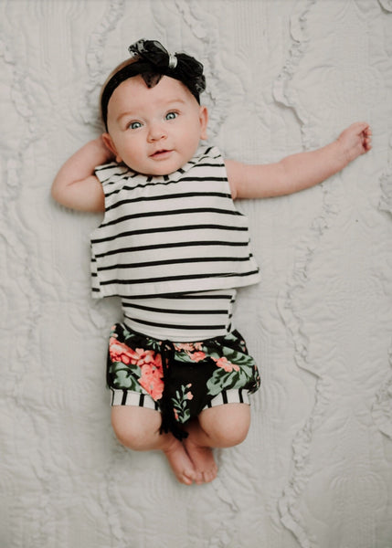 Baby/Toddler Striped and Floral Shirt/Shorts Set