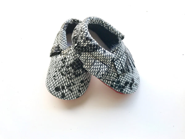 Baby Moccains - Black Snakeskin with Red Bottom