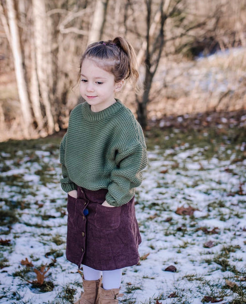 Baby/Toddler Olive Waffle Knit Sweater