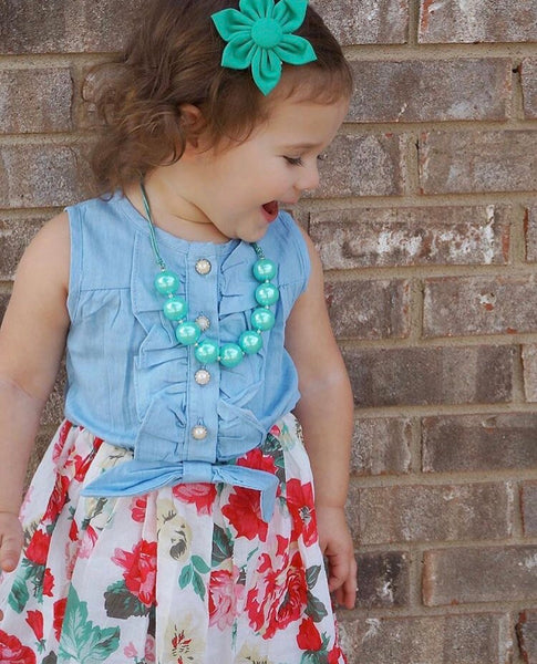 Toddler/Kids Denim and Floral Dress