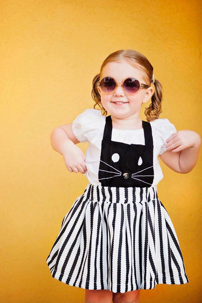 Baby/Toddler Black and White Kitty Dress