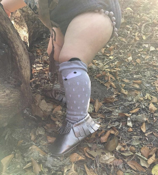 Baby/Toddler Grey Knee High Fox Socks