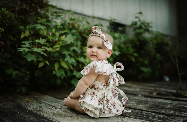 Baby/Toddler Vintage Floral Romper/Headband Set