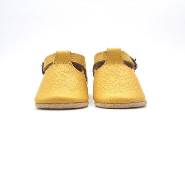 Baby T-Strap Shoes - Mustard Yellow