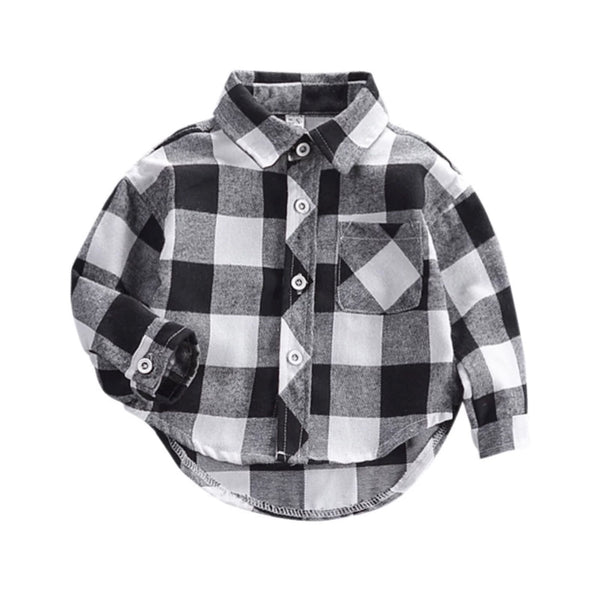 Baby/Toddler Black and White Buffalo Plaid Button Up Shirt
