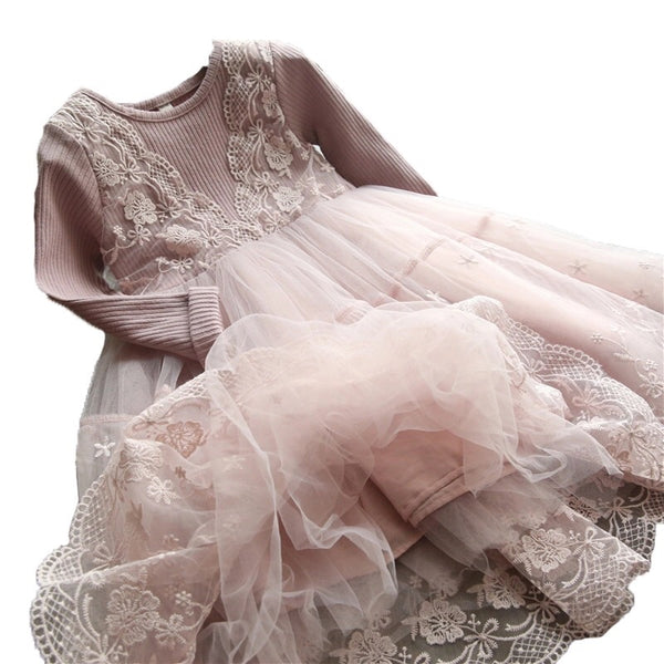 Toddler/Kids Blush Long Sleeve Lace Dress