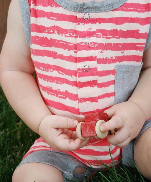 Baby/Toddler Red and Grey Striped Romper