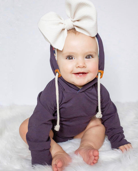 Baby/Toddler Plum Hooded Bodysuit
