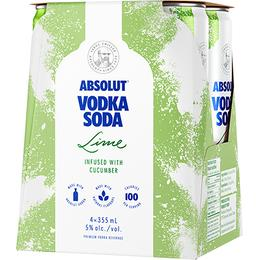 ABSOLUT SODA LIME 4PCK CANS
