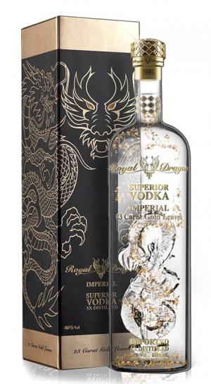ROYAL DRAGON IMPERIAL VODKA WITH 23 CARAT GOLD LEAVES