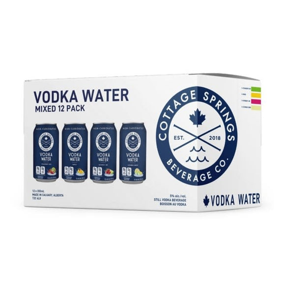 COTTAGE SPRINGS VODKA WATER VARIETY PACK 12 CANS
