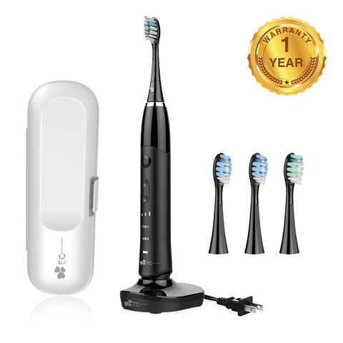 Travel Sonic Electric Toothbrush Rechargeable Waterproof for Adults - Black