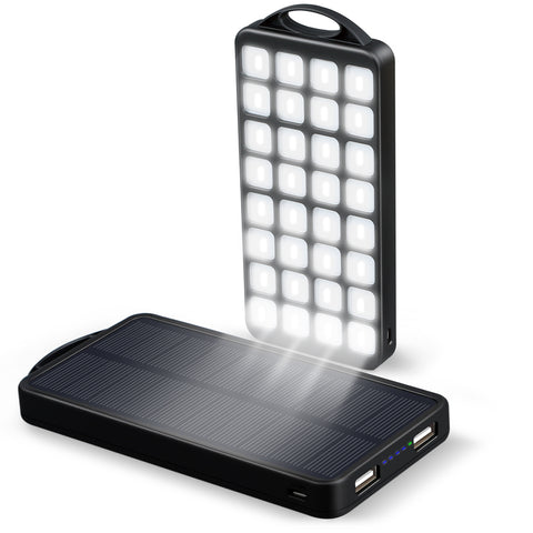 EC Technology 10000mAh Solar Charger Power Bank 2 USB Port Black