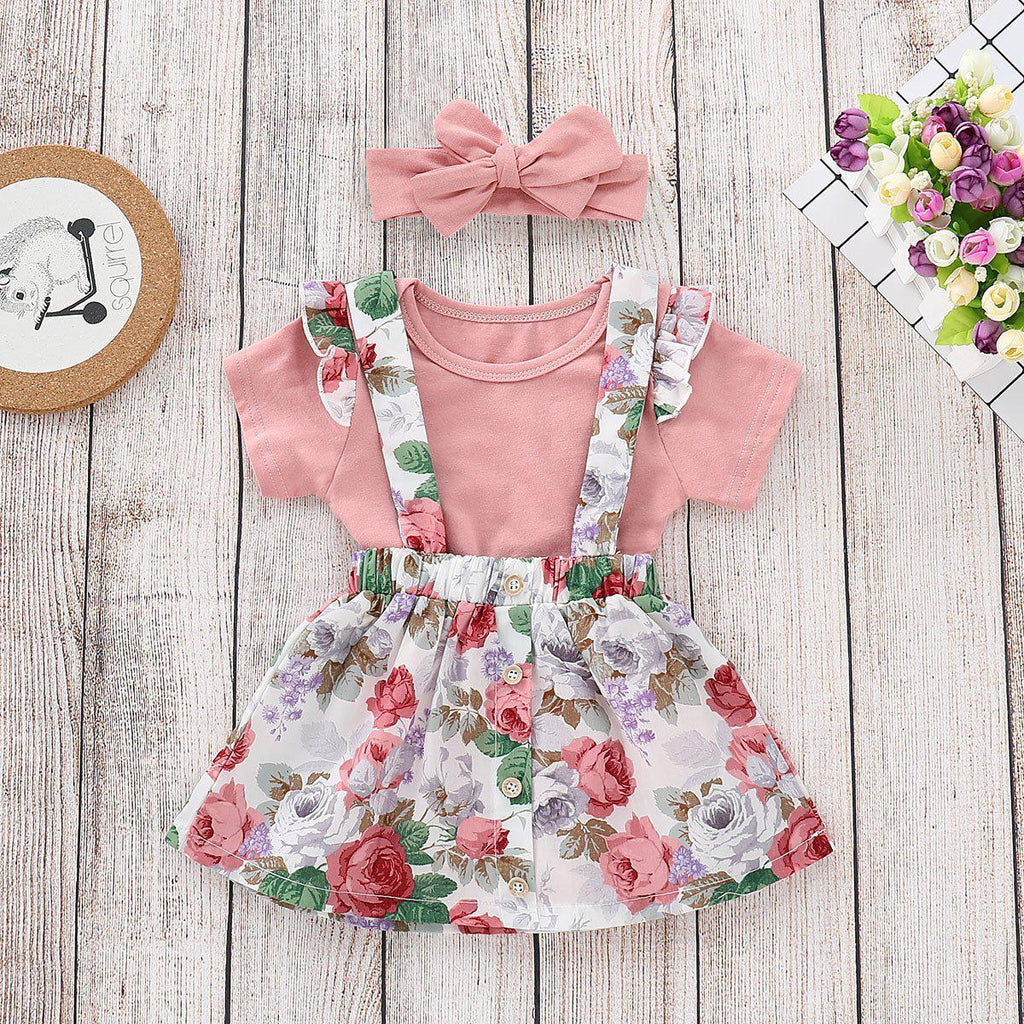 2-piece Baby Shivering Cotton Dress Suit