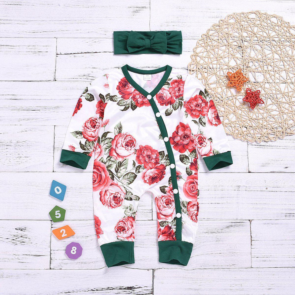 2-piece baby cotton flower jumpsuit