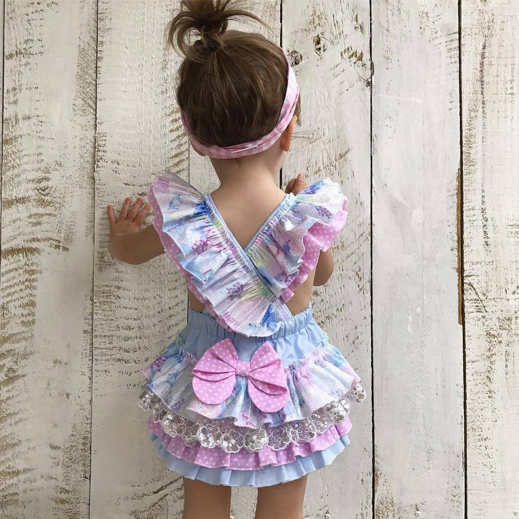 Girls' Woven Cotton Color Romper