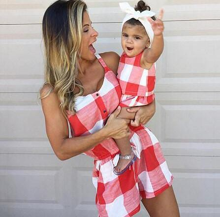 Mom and Me One-piece Grid Suit