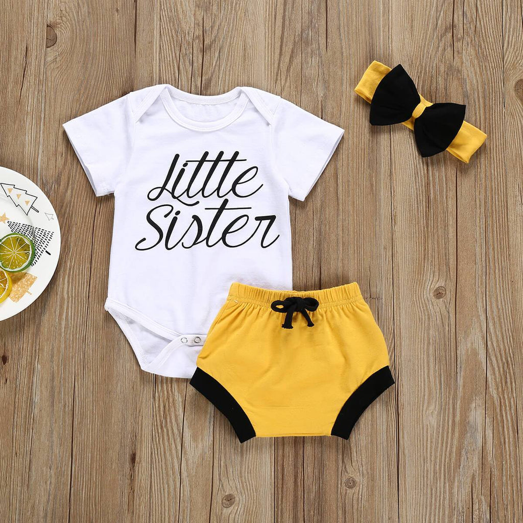 3-piece Baby Littler Sister Cotton Suit