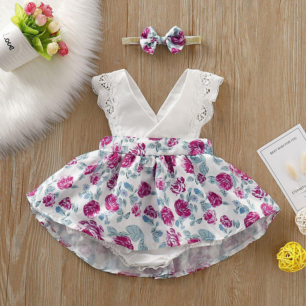 2-piece Baby Flower Dress Romper