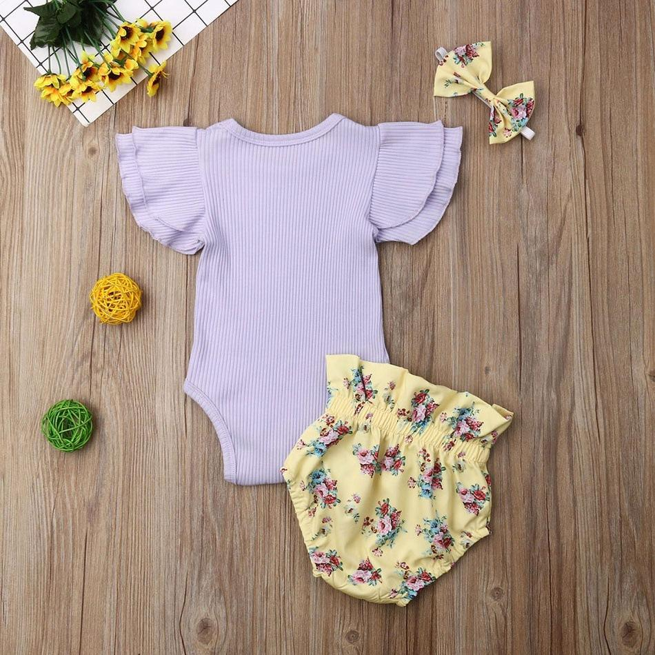 3-piece Baby Flower Cotton Suit