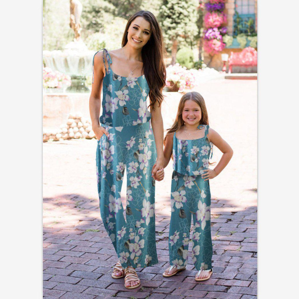 Girl Floral Print Parent-child Dress