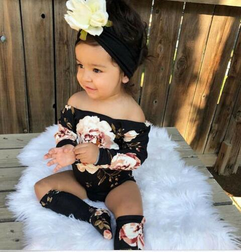 2-piece Baby Flower Romper with Socks