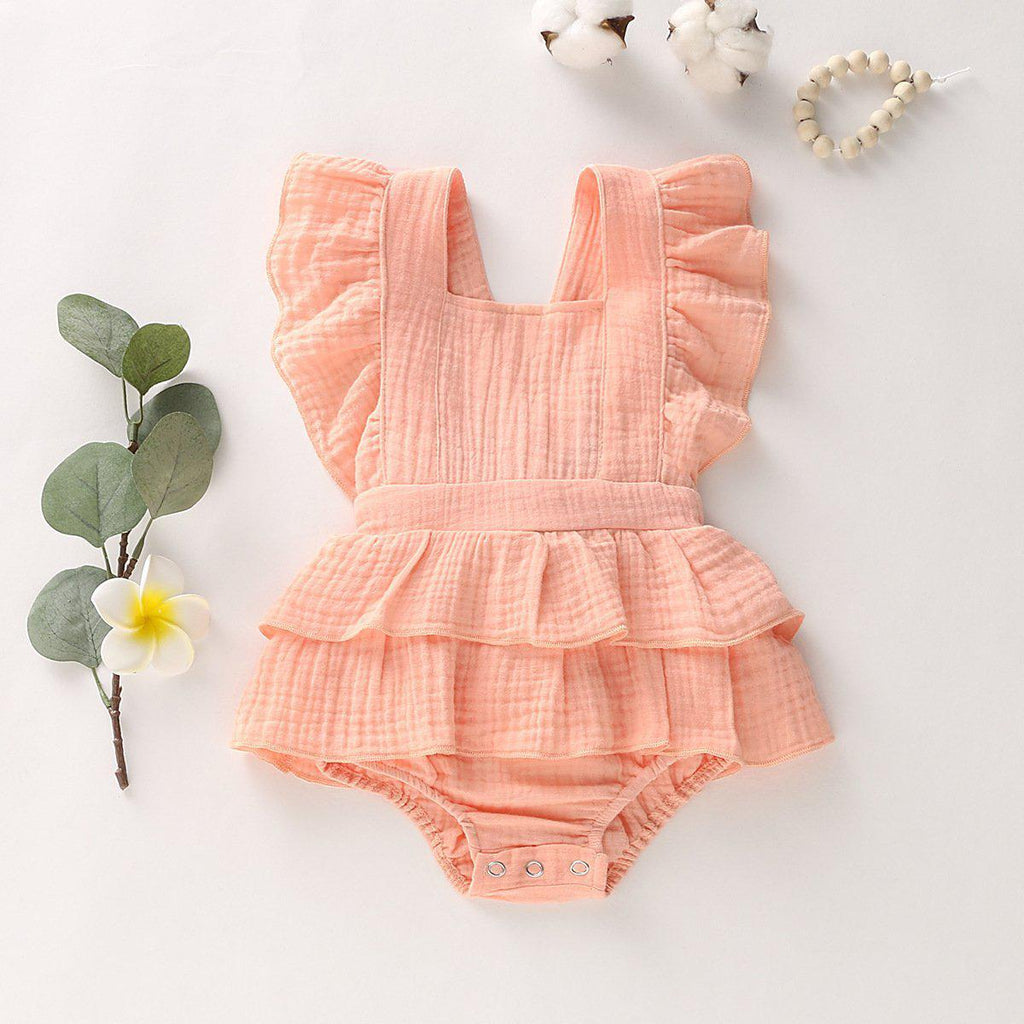 Baby Girl Cotton Linen Romper